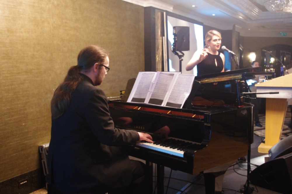 Emilia Parker and David Merriman performing  at the annual fundraising dinner 2017