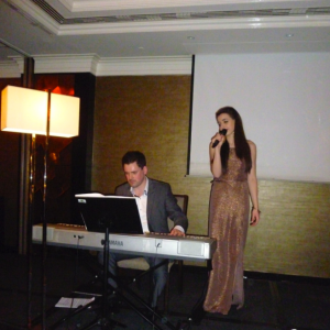Molly Lynch and Colm O'Regan performing at the annual gala dinner 2016