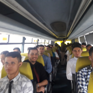 Male students using the bus