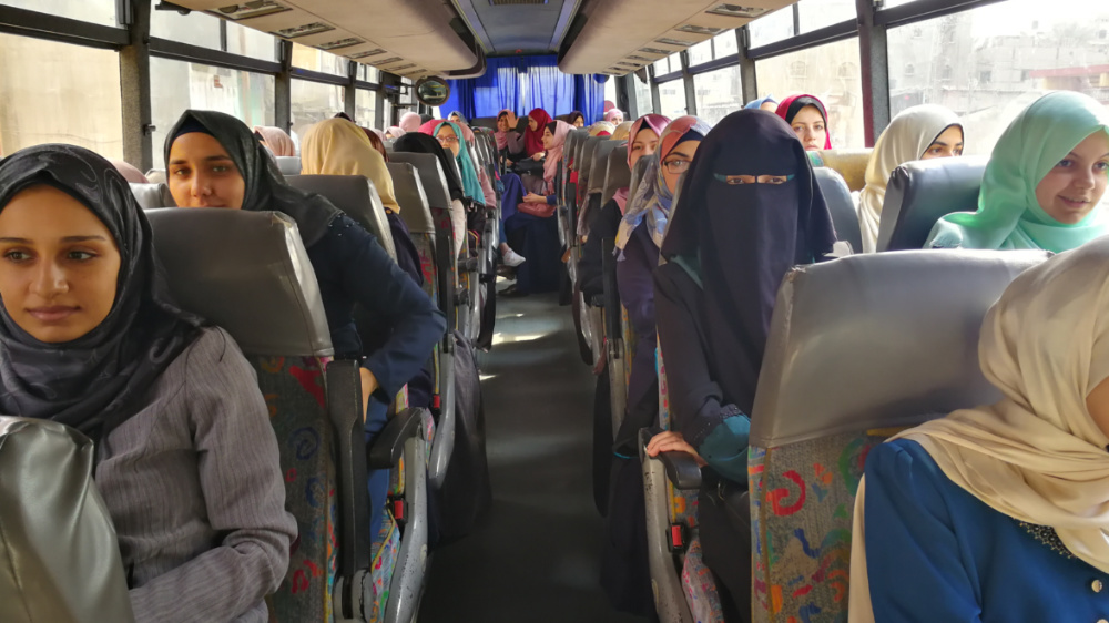 Female students on the bus